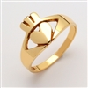 14k Yellow Gold Contemporary Small Claddagh Ring 10mm