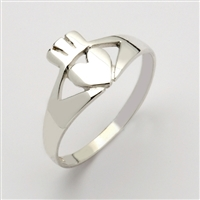 10k White Gold Contemporary Small Claddagh Ring 10mm