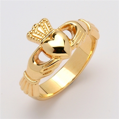 14k Yellow Gold Unisex Xtra Heavy Claddagh Ring 12mm