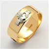 14k Yellow Gold Men's Wide Claddagh Wedding Ring 8mm
