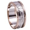 14k Men's White Gold Claddagh Celtic Wedding Ring 8.9mm