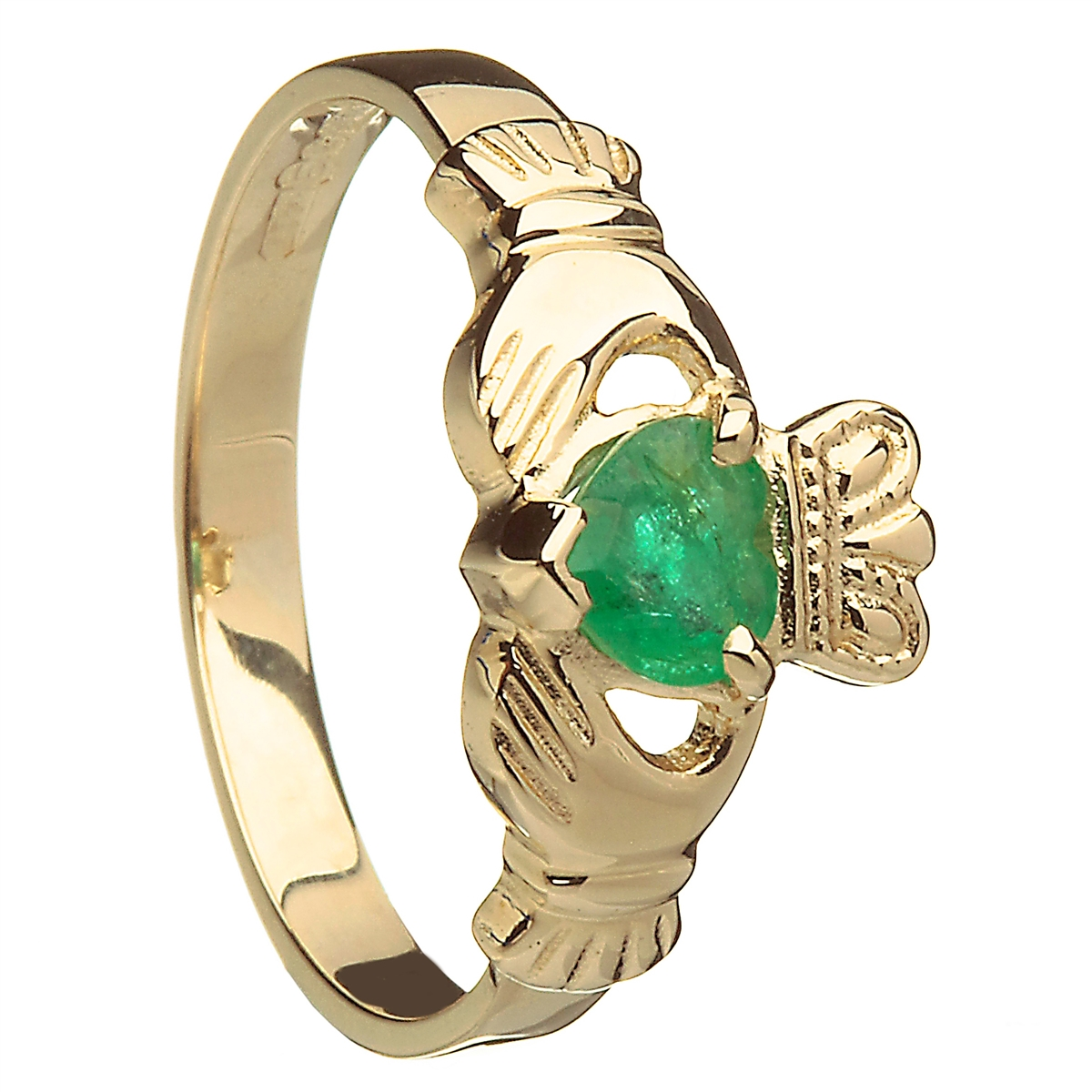 14k yellow gold emerald claddagh birthstone