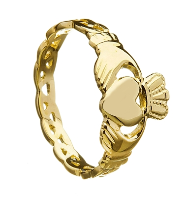 14k Yellow Gold Ladies Open Braided Shank Claddagh Ring 10mm