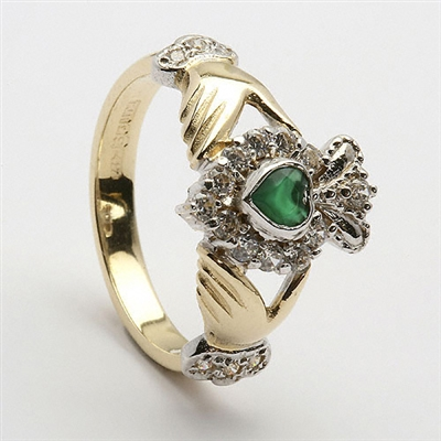 14k Yellow Gold Emerald & Diamond Cluster Claddagh Ring 13mm