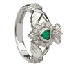 14k White Gold Emerald & Diamond Cluster Claddagh Ring 13mm