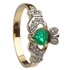 14k Yellow Gold Emerald Heart & CZ Ladies Claddagh Ring 11mm