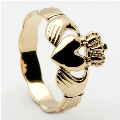 14k Yellow Gold Ladies Braided Shank Claddagh Ring 10mm