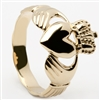14k Yellow Gold Men's Braided Shank Claddagh Ring 14mm