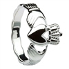 14k White Gold Men's Braided Shank Claddagh Ring 14mm