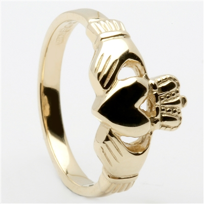 14k Yellow Gold Traditional Heavy Ladies Claddagh Ring 10mm
