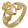 14k Yellow Gold Heavy Men's Claddagh Ring 14mm