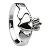 14K White Gold Traditional Heavy Men's Claddagh Ring 14mm
