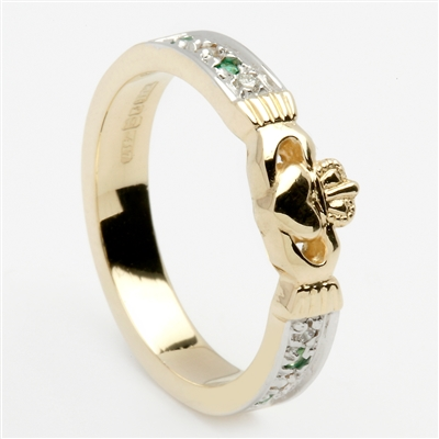 14k Yellow Gold Emerald & Diamond Ladies Claddagh Ring 5mm