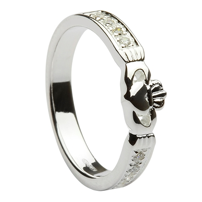 14k White Gold Diamond Claddagh Ring 5mm