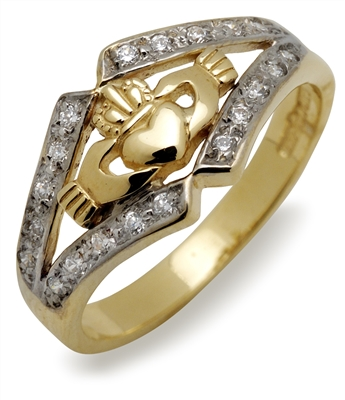 14k Yellow Gold Diamond Claddagh Ring 7.7mm