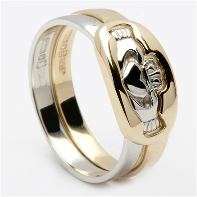 14k 2 Piece Yellow/White Gold Ladies Claddagh Ring 7mm