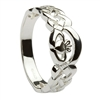 14k White Gold Ladies Nua Celtic Claddagh Ring 8mm