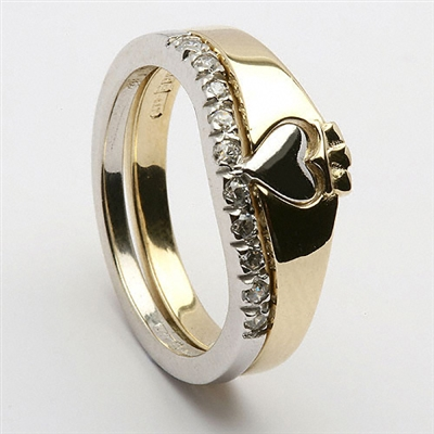 14k Gold Ladies 2 Part CZ Claddagh Ring 7mm