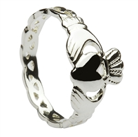 Sterling Silver Ladies Open Braided Claddagh Ring 9mm