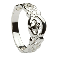 Sterling Silver Ladies Nua Celtic Claddagh Ring 8mm