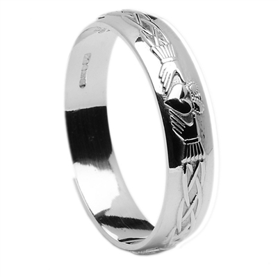 Sterling Silver Men's Claddagh Celtic Wedding Ring 4.5mm