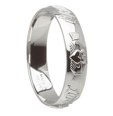 Sterling Silver Ladies Claddagh Celtic Wedding Ring 4.5mm