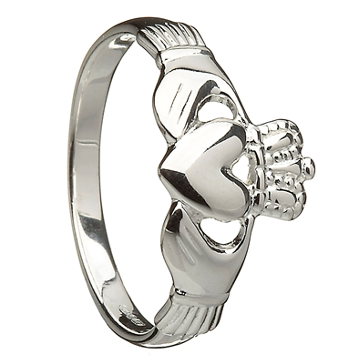 Sterling Silver Ladies Claddagh Ring 10mm