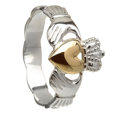 Sterling Silver Braided Shank With 10k Yellow Gold Heart Ladies Claddagh Ring 11mm