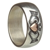Sterling Silver Ladies Claddagh Ring With 10k Rose Gold Heart 8mm