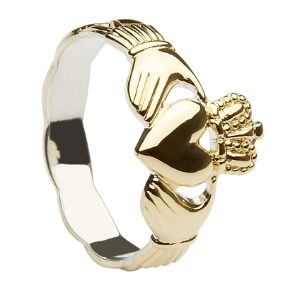 Gold Plated Over Sterling Silver Ladies Braided Claddagh Ring 11mm