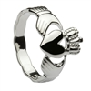 Sterling Silver Ladies Braided Shank Claddagh Ring 10mm