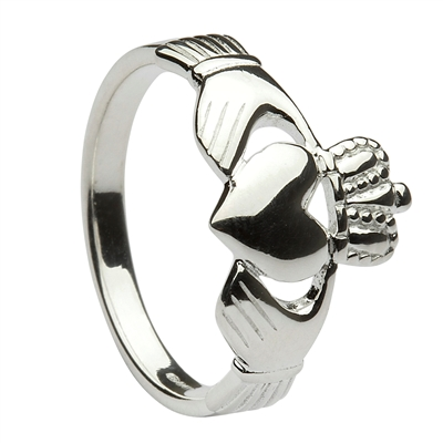 Sterling Silver Ladies Traditional Heavy Claddagh Ring 10mm
