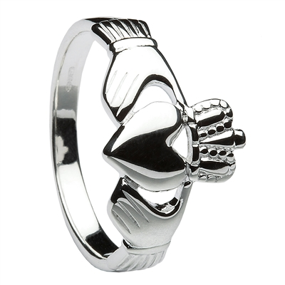 Sterling Silver Men's Traditional Heavy Claddagh Ring 14mm