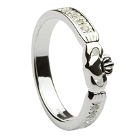 Sterling Silver Ladies Stone Set CZ Claddagh Ring 5mm