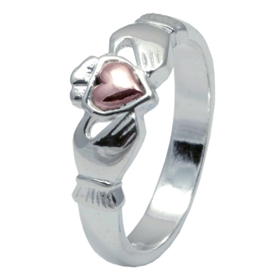 Sterling Silver Ladies Claddagh Ring With a 10k Rose Gold Heart 7.3mm
