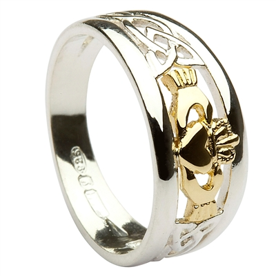 Sterling Silver Celtic Claddagh Ring With a 10k Yellow Gold Center 8mm