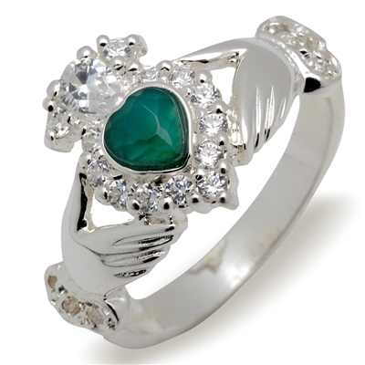Sterling Silver Ladies Stoneset Agate/CZ Claddagh Ring 12.7mm