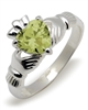 Sterling Silver Synthetic Peridot (Aug) Birthstone Claddagh Ring 9mm