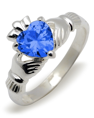 Sterling Silver Synthetic Blue Topaz (Dec) Birthstone Claddagh Ring 9mm
