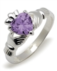 Sterling Silver Synthetic Amethyst (Feb) Birthstone Claddagh Ring 9mm