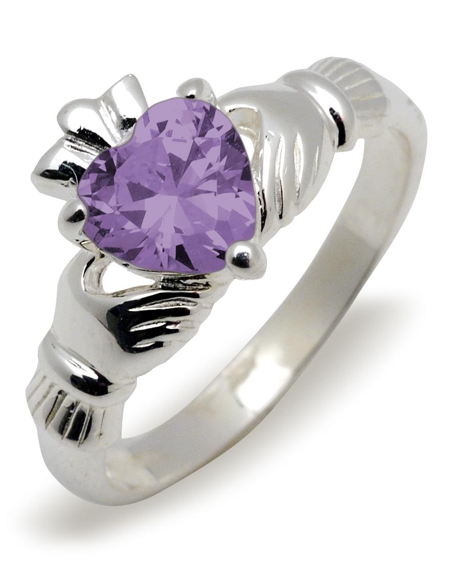 40c5b81b6e457 Sterling Silver Synthetic Amethyst (Feb) Birthstone Claddagh Ring 9mm