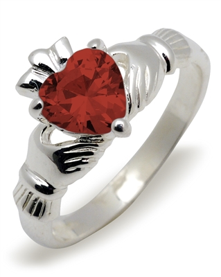 Sterling Silver Synthetic Garnet (Jan) Birthstone Claddagh Ring 9mm