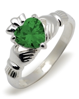 Sterling Silver Synthetic Emerald (May) Birthstone Claddagh Ring 9mm