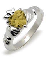 Sterling Silver Synthetic Citrine (Nov) Birthstone Claddagh Ring 9mm