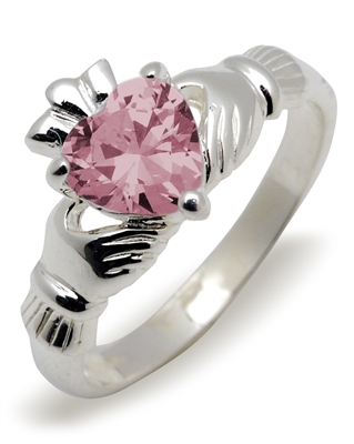 Sterling Silver Synthetic Tourmaline (Oct) Birthstone Claddagh Ring 9mm