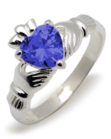 Sterling Silver Synthetic Sapphire (Sep) Birthstone Claddagh Ring 9mm