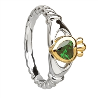 Sterling Silver Agate CZ Ladies Claddagh Ring