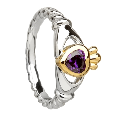 Sterling Silver Amethyst CZ Ladies Claddagh Ring