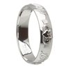 10k White Gold Ladies Claddagh Wedding Ring 4.5mm - Comfort Fit