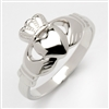 10k White Gold Heavy Small Claddagh Ring 10.5mm